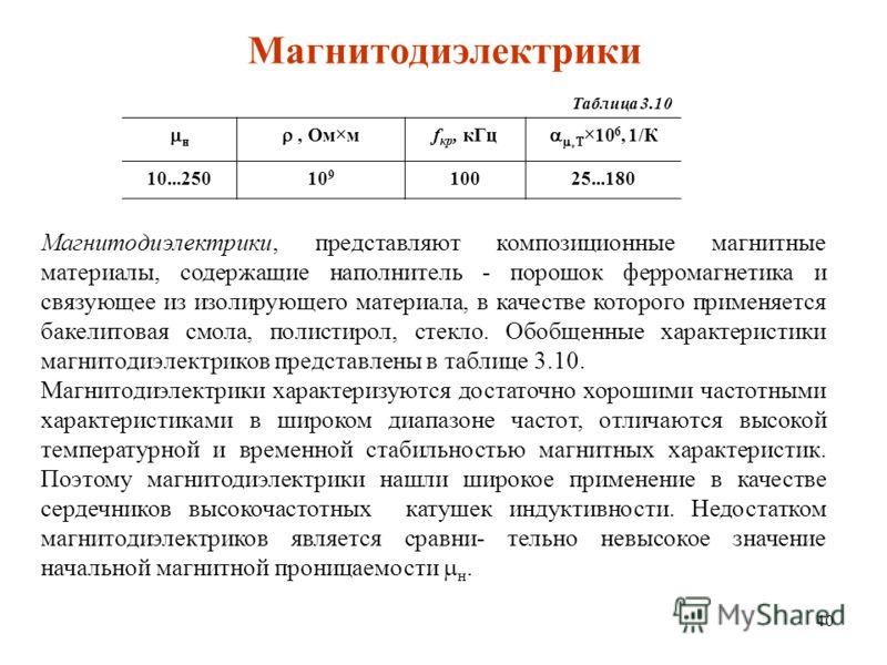 40 Магнитодиэлектрики Таблица 3.10 н, Ом м f кр, кГц 10 6, 1/К 10...25010 9 10025...180 Магнитодиэлектрики, представляют композиционные магнитные материалы, содержащие наполнитель - порошок ферромагнетика и связующее из изолирующего материала, в каче