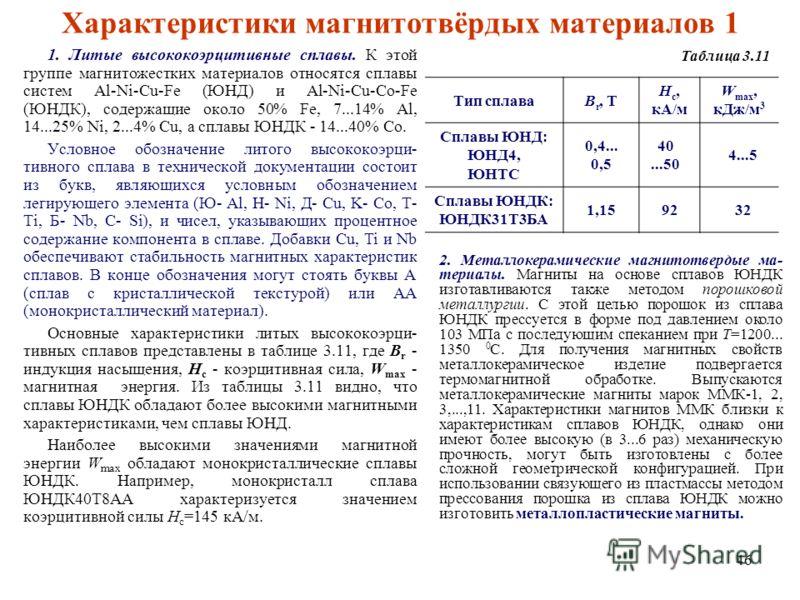 46 Характеристики магнитотвёрдых материалов 1 1. Литые высококоэрцитивные сплавы. К этой группе магнитожестких материалов относятся сплавы систем Al-Ni-Cu-Fe (ЮНД) и Al-Ni-Cu-Co-Fe (ЮНДК), содержащие около 50% Fe, 7...14% Al, 14...25% Ni, 2...4% Cu,