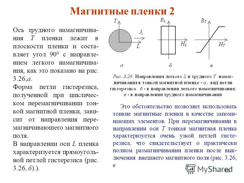 56 Магнитные пленки 2 Ось трудного намагничива- ния Т пленки лежит в плоскости пленки и соста- вляет угол 90 0 с направле- нием легкого намагничива- ния, как это показано на рис. 3.26,а. Форма петли гистерезиса, полученной при цикличес- ком перемагни