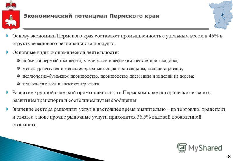 18 Основу экономики Пермского края составляет промышленность с удельным весом в 46% в структуре валового регионального продукта. Основные виды экономической деятельности: добыча и переработка нефти, химическое и нефтехимическое производства; металлур