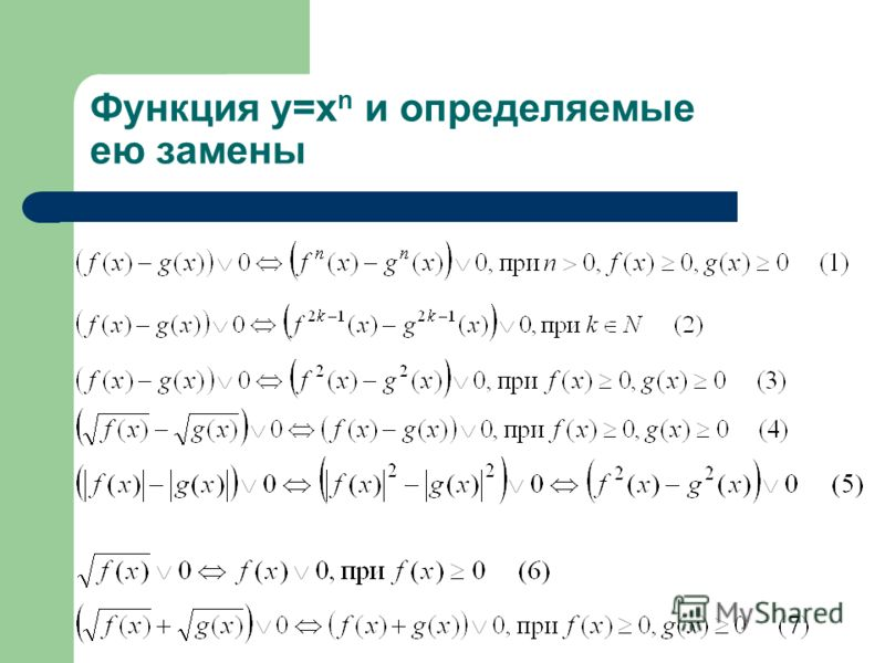 Функция y=x n и определяемые ею замены