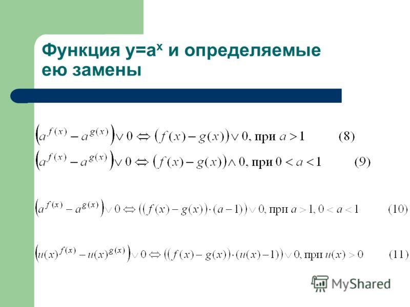 Функция y=a x и определяемые ею замены