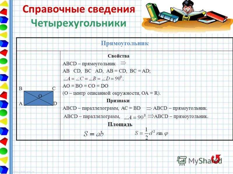 Прямоугольник В С О A D Свойства ABCD – прямоугольник AB CD, BC AD, AB = CD, BC = AD; AO = BO = CO = DO (О – центр описанной окружности, ОА = R). Признаки ABCD – параллелограмм, АС = BD ABCD – прямоугольник. ABCD – параллелограмм, ABCD – прямоугольни
