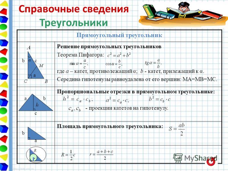 Прямоугольный треугольник b c a Решение прямоугольных треугольников Теорема Пифагора: где а – катет, противолежащий α; b - катет, прилежащий к α. Середина гипотенузы равноудалена от его вершин: МА=МВ=МС. a b c Пропорциональные отрезки в прямоугольном