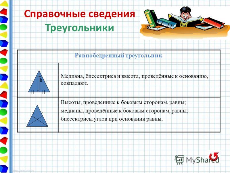 Равнобедренный треугольник h Медиана, биссектриса и высота, проведённые к основанию, совпадают. Высоты, проведённые к боковым сторонам, равны; медианы, проведённые к боковым сторонам, равны; биссектрисы углов при основании равны. Справочные сведения