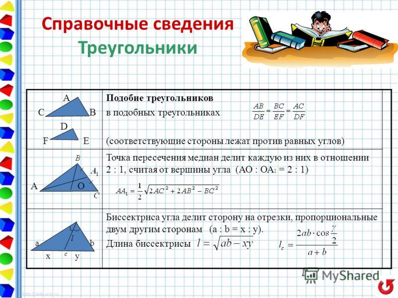 А С В D F E Подобие треугольников в подобных треугольниках (соответствующие стороны лежат против равных углов) А О Точка пересечения медиан делит каждую из них в отношении 2 : 1, считая от вершины угла (АО : ОА 1 = 2 : 1) a b x y Биссектриса угла дел