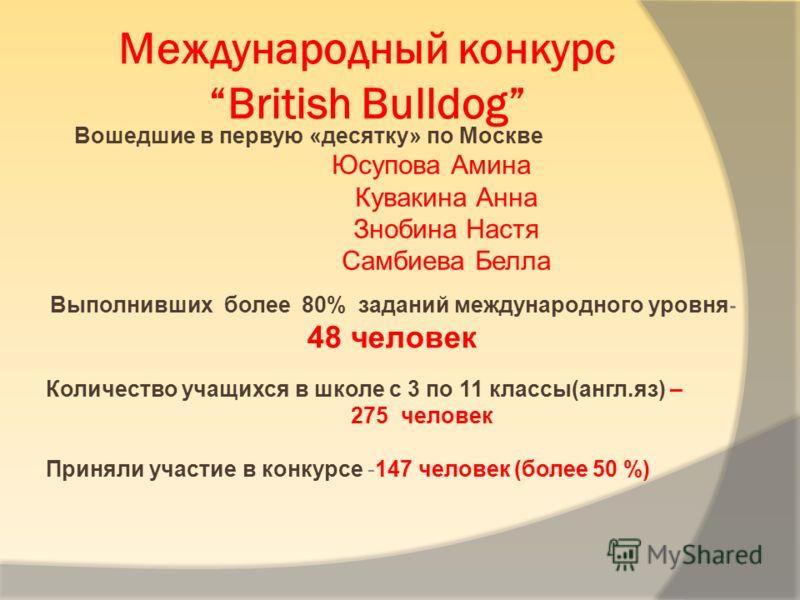 Международный конкурсBritish Bulldog Вошедшие в первую «десятку» по Москве Юсупова Амина Кувакина Анна Знобина Настя Самбиева Белла Выполнивших более 80% заданий международного уровня - 48 человек Количество учащихся в школе с 3 по 11 классы(англ.яз)