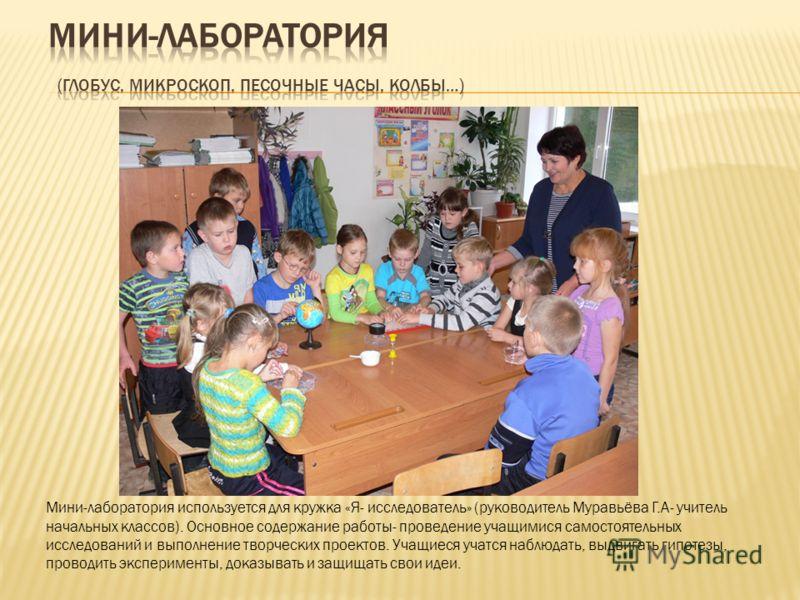 Мини-лаборатория используется для кружка «Я- исследователь» (руководитель Муравьёва Г.А- учитель начальных классов). Основное содержание работы- проведение учащимися самостоятельных исследований и выполнение творческих проектов. Учащиеся учатся наблю