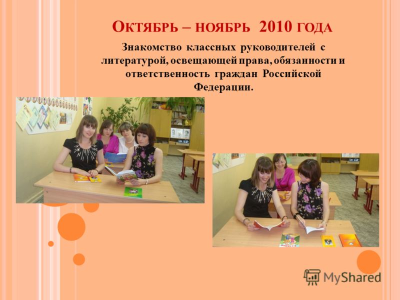 О КТЯБРЬ – НОЯБРЬ 2010 ГОДА Знакомство классных руководителей с литературой, освещающей права, обязанности и ответственность граждан Российской Федерации.