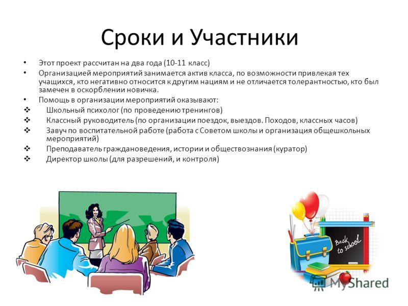 Сроки и Участники Этот проект рассчитан на два года (10-11 класс) Организацией мероприятий занимается актив класса, по возможности привлекая тех учащихся, кто негативно относится к другим нациям и не отличается толерантностью, кто был замечен в оскор