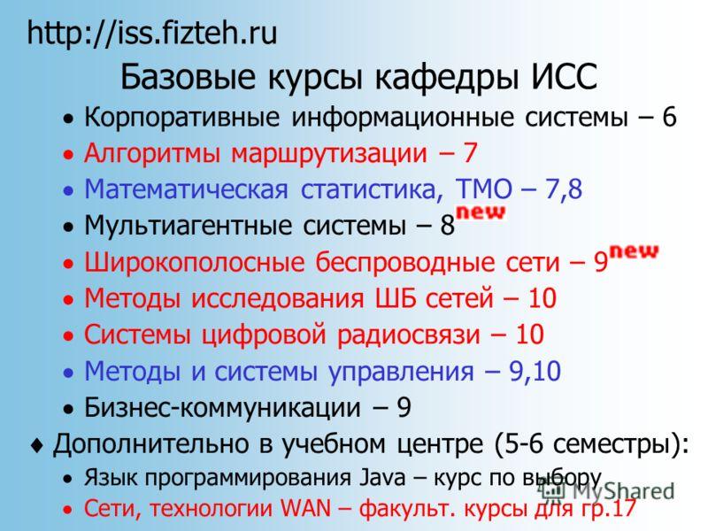 http://iss.fizteh.ru Базовые курсы кафедры ИСС Корпоративные информационные системы – 6 Алгоритмы маршрутизации – 7 Математическая статистика, TMO – 7,8 Мультиагентные системы – 8 Широкополосные беспроводные сети – 9 Методы исследования ШБ сетей – 10