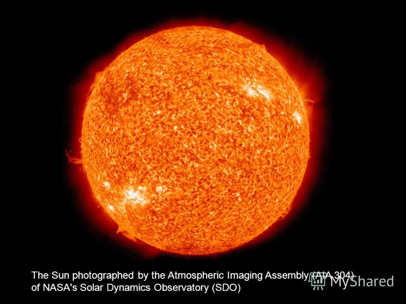 The Sun photographed by the Atmospheric Imaging Assembly (AIA 304) of NASA's Solar Dynamics Observatory (SDO)