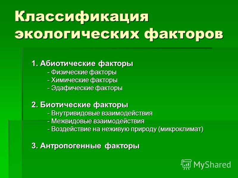 Классификация экологических факторов 1. Абиотические факторы - Физические факторы - Химические факторы - Эдафические факторы 2. Биотические факторы - Внутривидовые взаимодействия - Межвидовые взаимодействия - Воздействие на неживую природу (микроклим