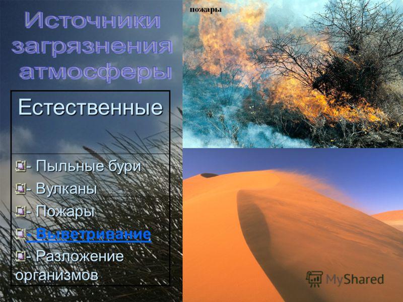 Естественные - Пыльные бури - Вулканы - Пожары - Выветривание - Разложение организмов