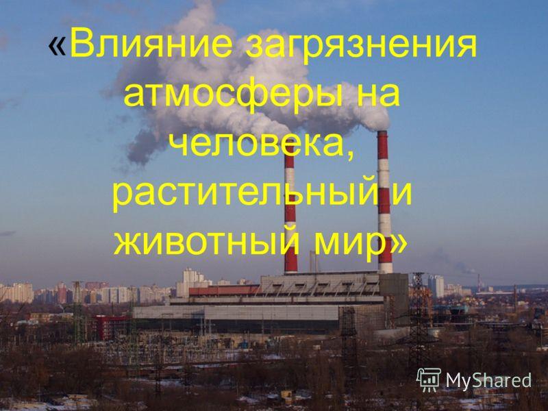 «Влияние загрязнения атмосферы на человека, растительный и животный мир»