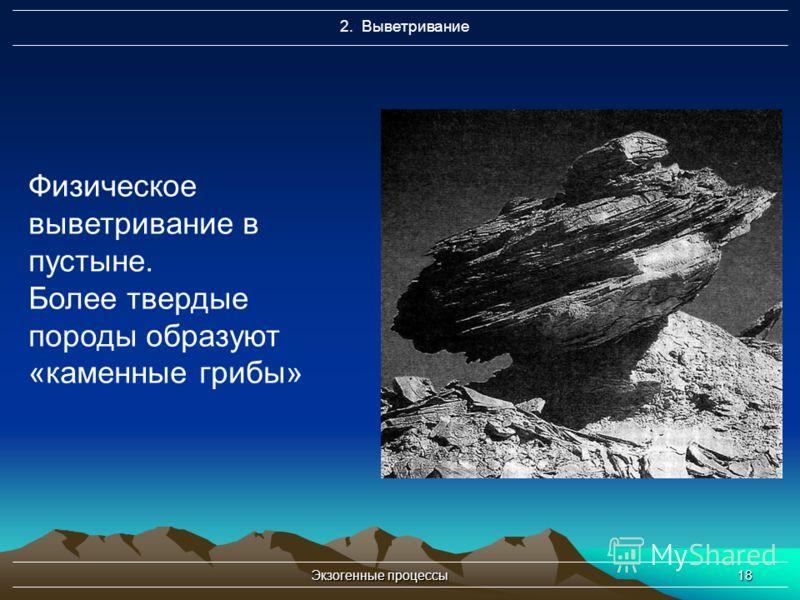 Экзогенные процессы18 2. Выветривание Физическое выветривание в пустыне. Более твердые породы образуют «каменные грибы»