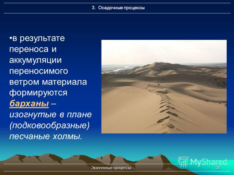 Экзогенные процессы38 3. Осадочные процессы в результате переноса и аккумуляции переносимого ветром материала формируются барханы – изогнутые в плане (подковообразные) песчаные холмы.