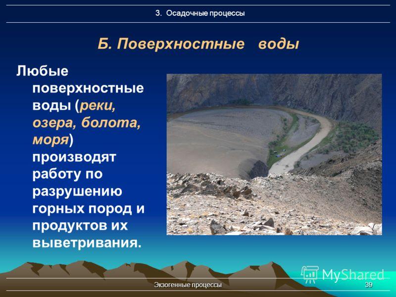 Экзогенные процессы39 3. Осадочные процессы Б. Поверхностные воды Любые поверхностные воды (реки, озера, болота, моря) производят работу по разрушению горных пород и продуктов их выветривания.