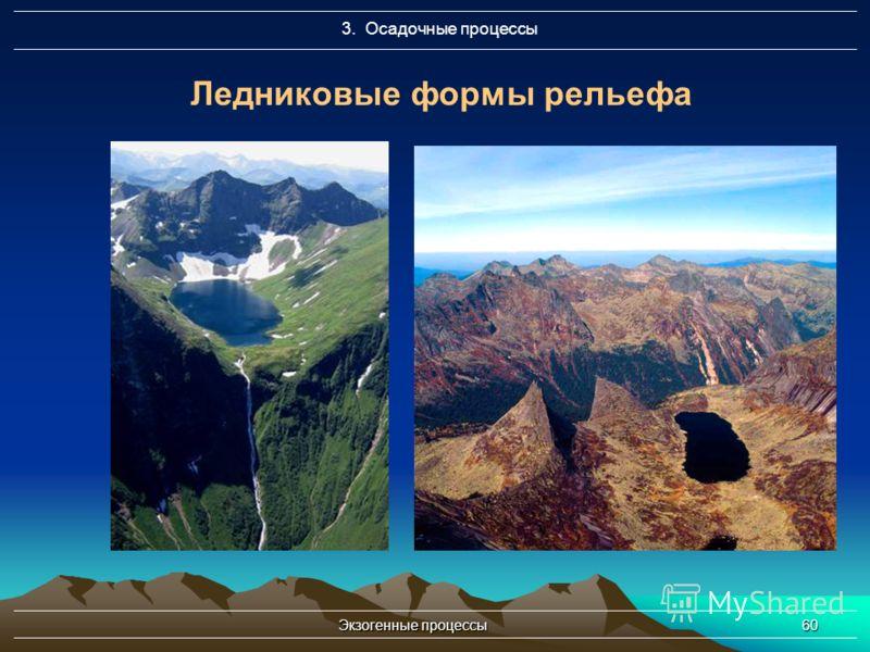 Экзогенные процессы60 3. Осадочные процессы Ледниковые формы рельефа