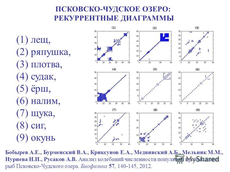 (1) лещ, (2) ряпушка, (3) плотва, (4) судак, (5) ёрш, (6) налим, (7) щука, (8) сиг, (9) окунь ПСКОВСКО-ЧУДСКОЕ ОЗЕРО: РЕКУРРЕНТНЫЕ ДИАГРАММЫ Бобырев А.Е., Бурменский В.А., Криксунов Е.А., Медвинский А.Б., Мельник М.М., Нуриева Н.И., Русаков А.В. Анал
