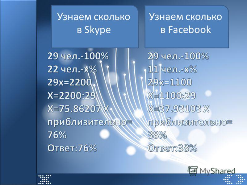 Узнаем сколько в Skype Узнаем сколько в Facebook
