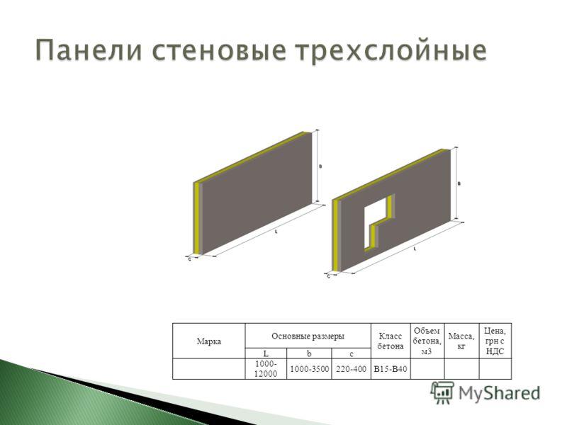 Марка Основные размерыКласс бетона Объем бетона, м3 Масса, кг Цена, грн с НДС Lbс 1000- 12000 1000-3500220-400В15-В40