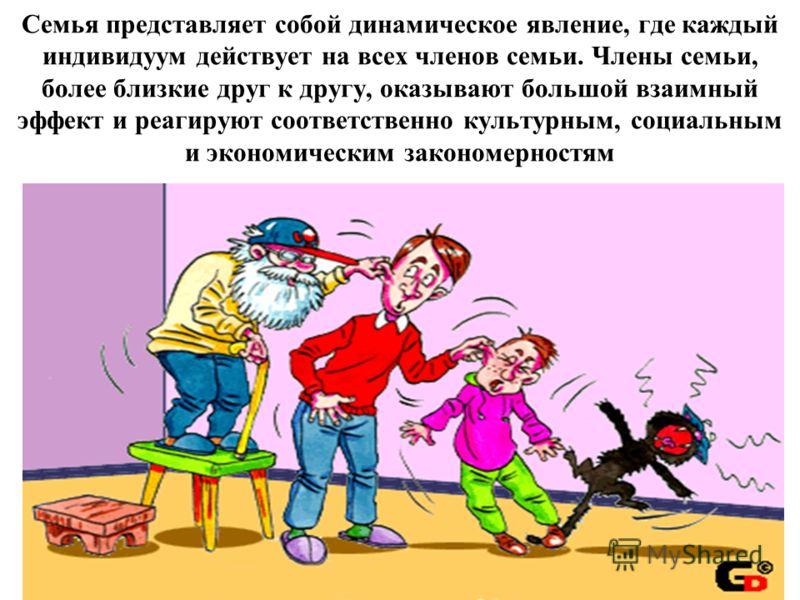 Семья представляет собой динамическое явление, где каждый индивидуум действует на всех членов семьи. Члены семьи, более близкие друг к другу, оказывают большой взаимный эффект и реагируют соответственно культурным, социальным и экономическим закономе