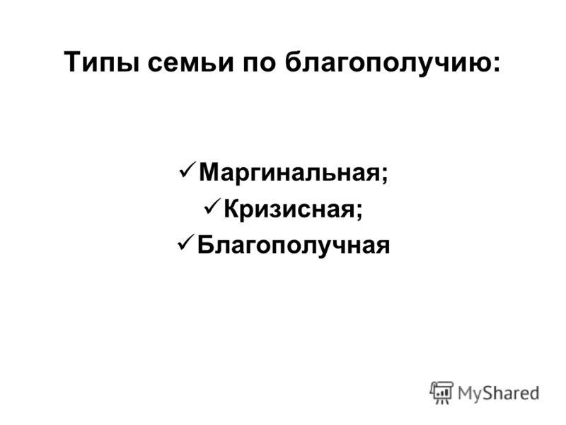 Типы семьи по благополучию: Маргинальная; Кризисная; Благополучная
