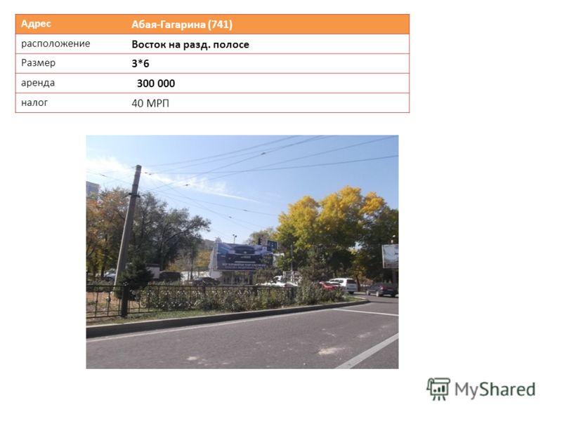 Адрес Абая-Гагарина (741) расположение Восток на разд. полосе Размер 3*6 аренда 300 000 налог 40 МРП