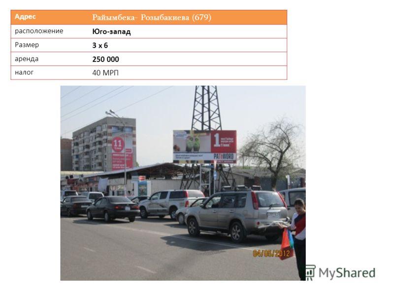 Адрес Райымбека- Розыбакиева (679) расположение Юго-запад Размер 3 х 6 аренда 250 000 налог 40 МРП