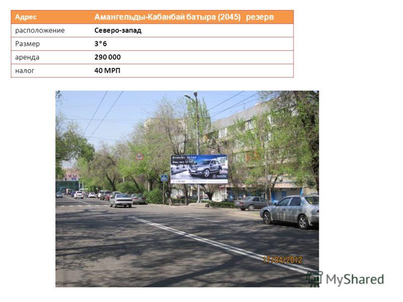 Адрес Амангельды-Кабанбай батыра (2045) резерв расположениеСеверо-запад Размер3*6 аренда290 000 налог40 МРП