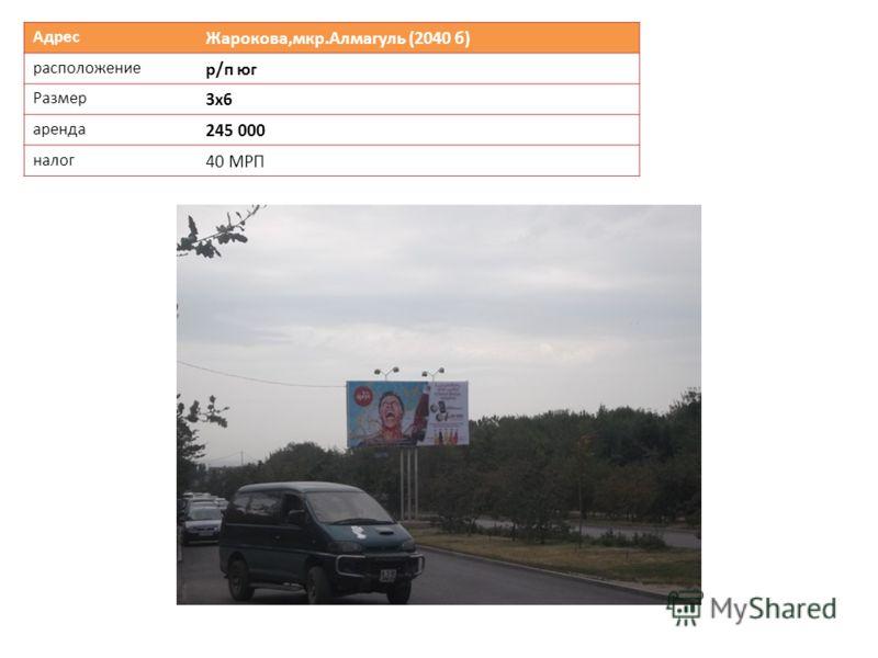 Адрес Жарокова,мкр.Алмагуль (2040 б) расположение р/п юг Размер 3х6 аренда 245 000 налог 40 МРП