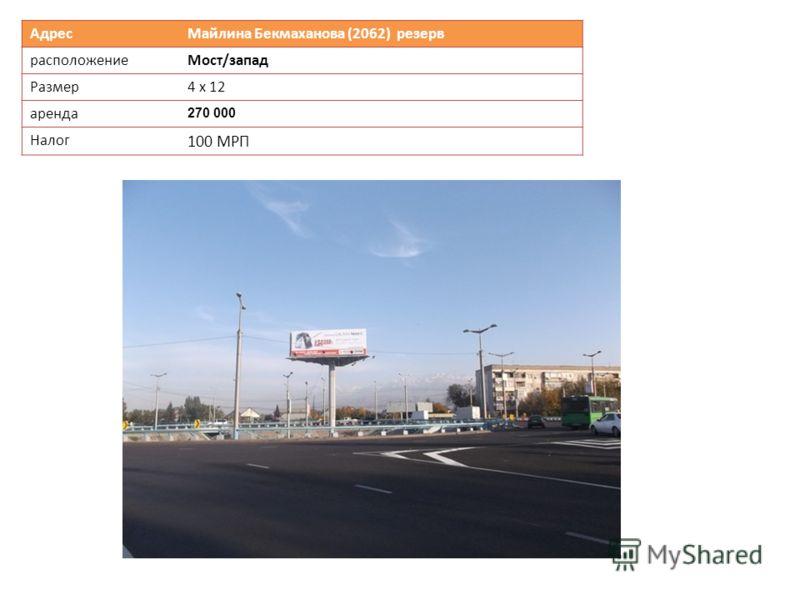 Адрес Майлина Бекмаханова (2062) резерв расположениеМост/запад Размер 4 х 12 аренда 270 000 Налог 100 МРП