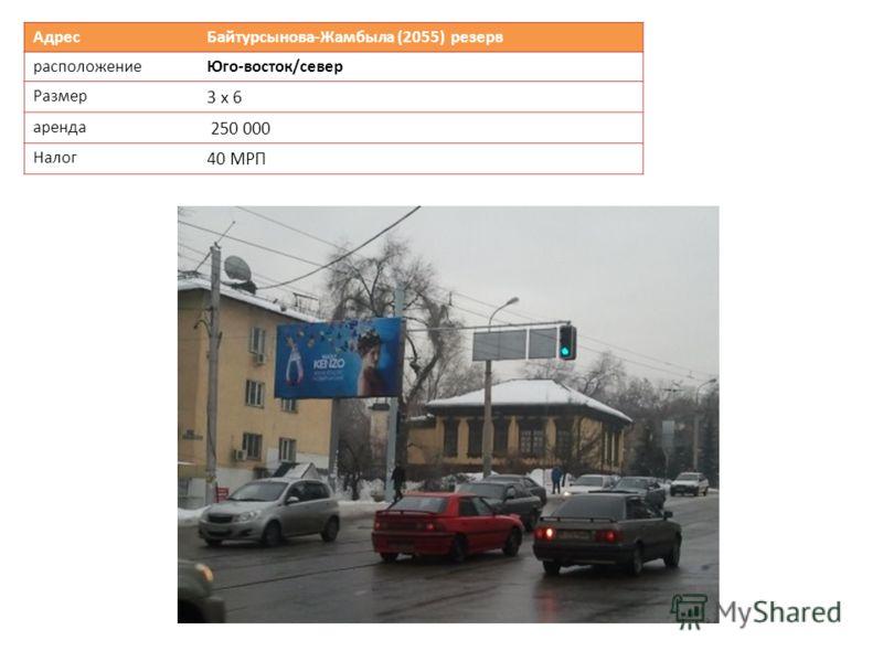 Адрес Байтурсынова-Жамбыла (2055) резерв расположениеЮго-восток/север Размер 3 х 6 аренда 250 000 Налог 40 МРП