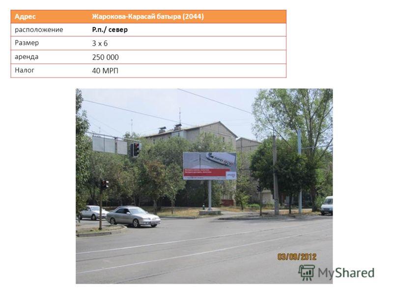 Адрес Жарокова-Карасай батыра (2044) расположениеР.п./ север Размер 3 х 6 аренда 250 000 Налог 40 МРП