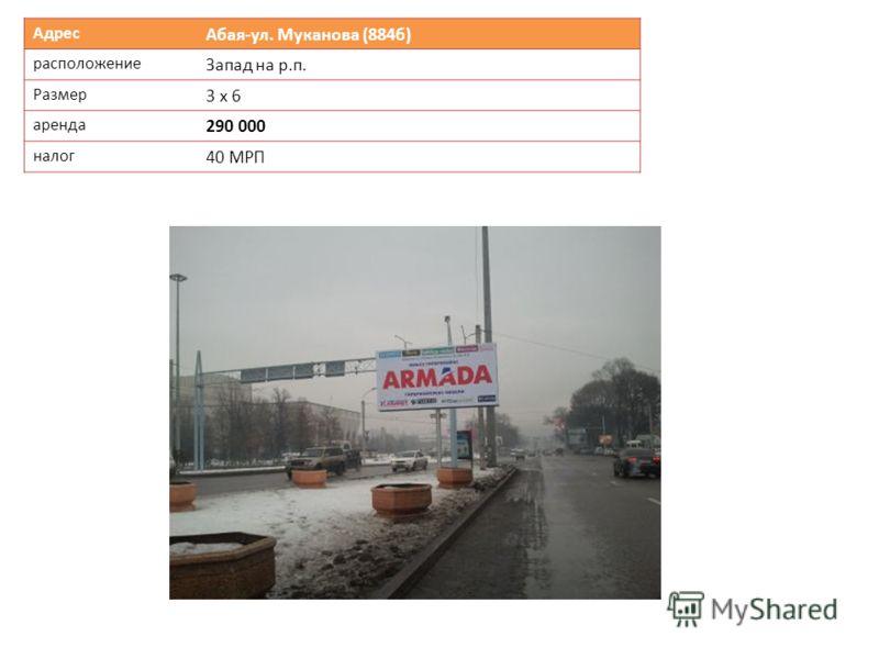 Адрес Абая-ул. Муканова (884б) расположение Запад на р.п. Размер 3 х 6 аренда 290 000 налог 40 МРП