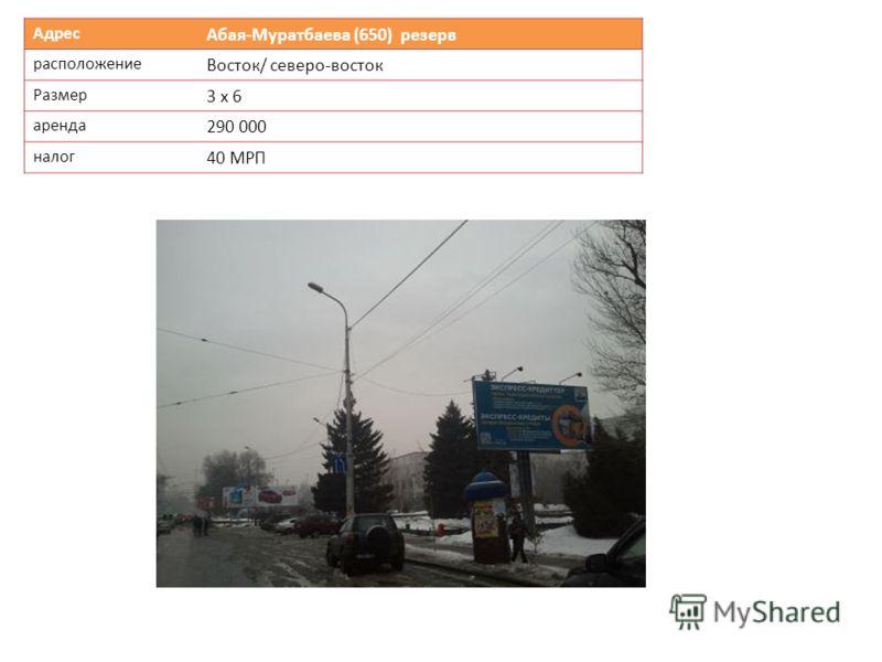 Адрес Абая-Муратбаева (650) резерв расположение Восток/ северо-восток Размер 3 х 6 аренда 290 000 налог 40 МРП