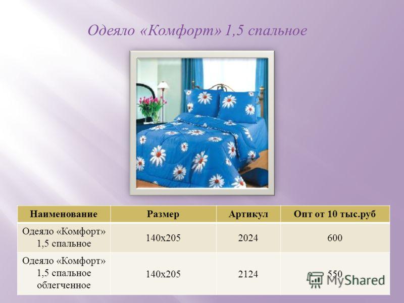 Одеяло « Комфорт » 1,5 спальное НаименованиеРазмерАртикул Опт от 10 тыс. руб Одеяло « Комфорт » 1,5 спальное 140 х 2052024600 Одеяло « Комфорт » 1,5 спальное облегченное 140 х 2052124550