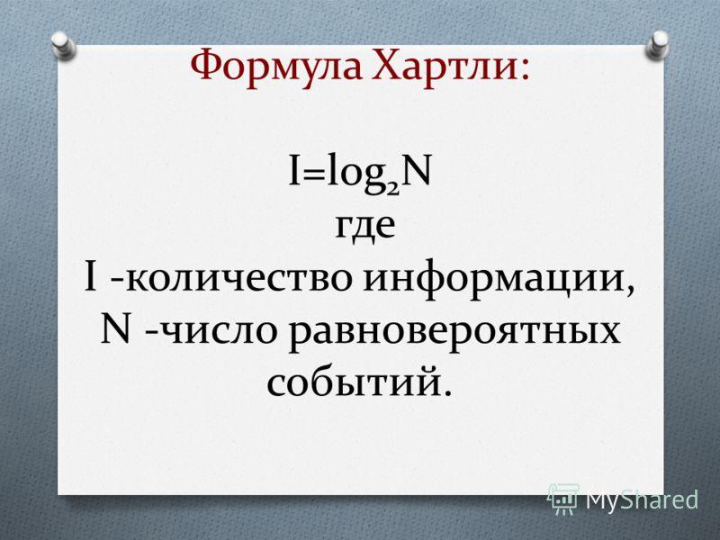 Формула Хартли: I=log 2 N где I -количество информации, N -число равновероятных событий.