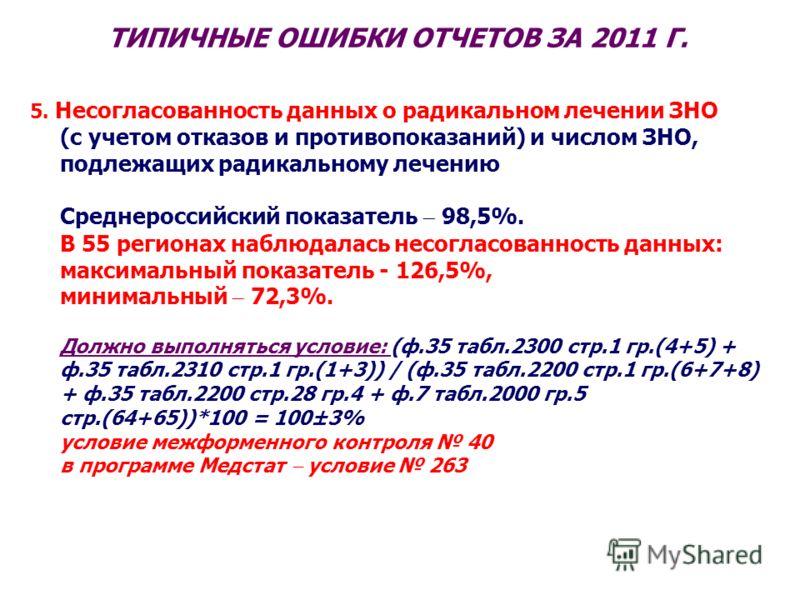 ТИПИЧНЫЕ ОШИБКИ ОТЧЕТОВ ЗА 2011 Г. 5. Несогласованность данных о радикальном лечении ЗНО (с учетом отказов и противопоказаний) и числом ЗНО, подлежащих радикальному лечению Среднероссийский показатель 98,5%. В 55 регионах наблюдалась несогласованност