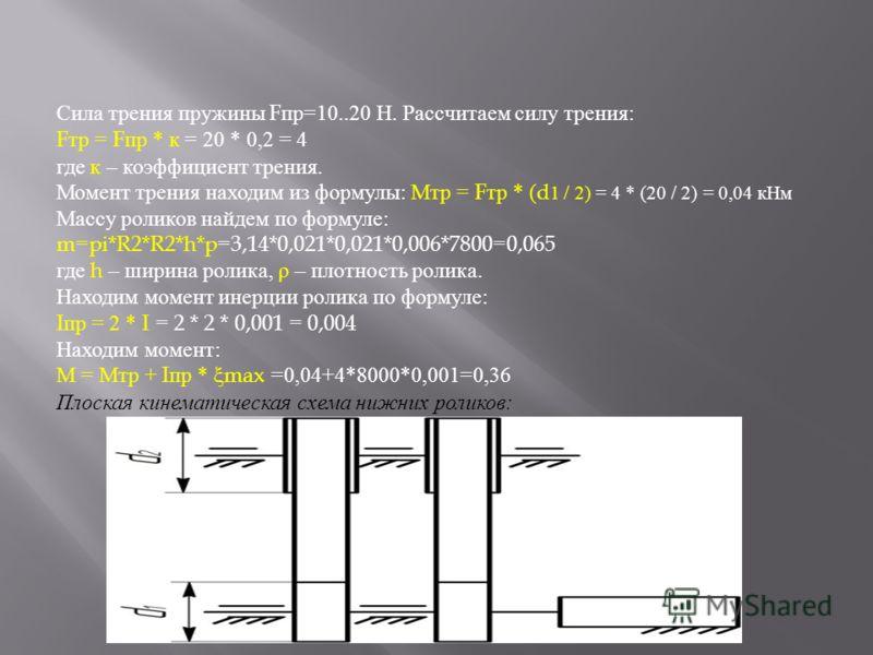 Сила трения пружины F пр=10..20 Н. Рассчитаем силу трения: F тр = F пр * к = 20 * 0,2 = 4 где к – коэффициент трения. Момент трения находим из формулы: Мтр = F тр * ( d 1 / 2) = 4 * (20 / 2) = 0,04 кНм Массу роликов найдем по формуле: m=pi*R2*R2*h*p=