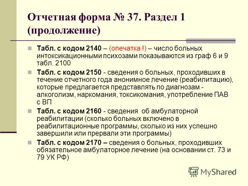 4 Отчетная форма 37. Раздел 1 (продолжение) Табл. с кодом 2140 – (опечатка !) – число больных интоксикационными психозами показываются из граф 6 и 9 табл. 2100 Табл. с кодом 2150 - сведения о больных, проходивших в течение отчетного года анонимное ле