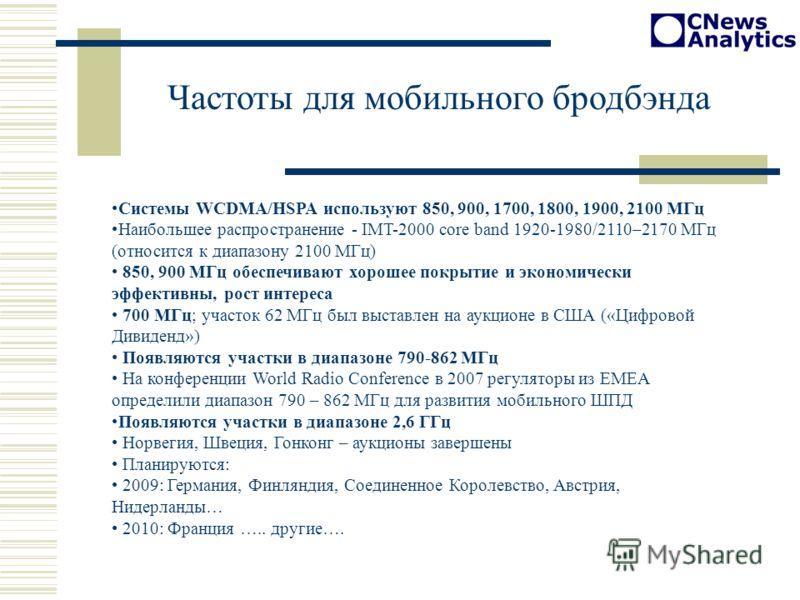 Частоты для мобильного бродбэнда Системы WCDMA/HSPA используют 850, 900, 1700, 1800, 1900, 2100 МГц Наибольшее распространение - IMT-2000 core band 1920-1980/2110–2170 МГц (относится к диапазону 2100 МГц) 850, 900 МГц обеспечивают хорошее покрытие и