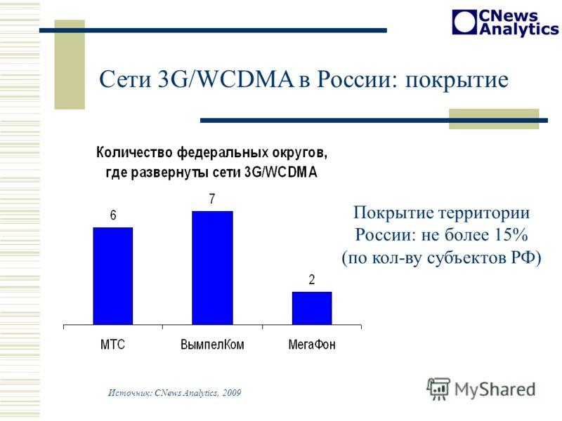 Сети 3G/WCDMA в России: покрытие Источник: CNews Analytics, 2009 Покрытие территории России: не более 15% (по кол-ву субъектов РФ)