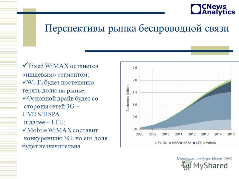 Fixed WiMAX останется «нишевым» сегментом; Wi-Fi будет постепенно терять долю на рынке; Основной драйв будет со стороны сетей 3G – UMTS/HSPA и далее – LTE; Mobile WiMAX составит конкуренцию 3G, но его доля будет незначительна Перспективы рынка беспро