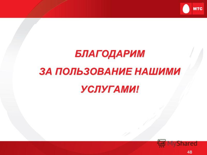 БЛАГОДАРИМ ЗА ПОЛЬЗОВАНИЕ НАШИМИ УСЛУГАМИ! 48