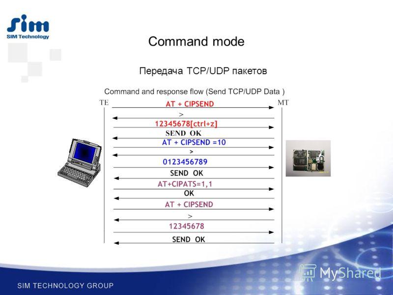 Command mode Передача TCP/UDP пакетов