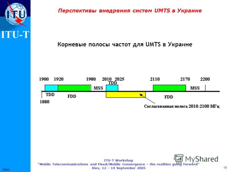 ITU-T ITU-T Workshop Mobile Telecommunications and Fixed/Mobile Convergence – the realities going forward Kiev, 12 – 14 September 2005 15 dates Перспективы внедрения систем UMTS в Украине Корневые полосы частот для UMTS в Украине