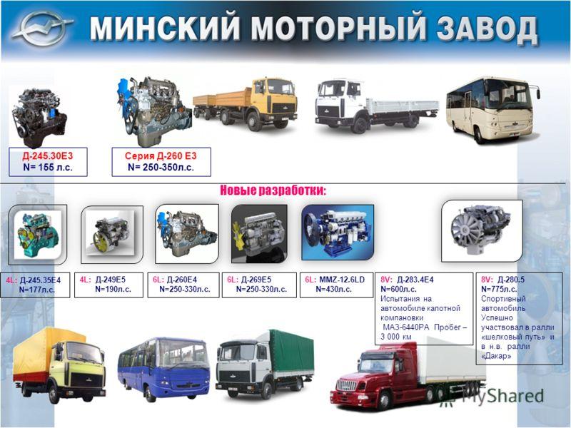 8V: Д-283.4Е4 N=600л.с. Испытания на автомобиле капотной компановки МАЗ-6440РА Пробег – 3 000 км 6L: Д-269Е5 N=250-330л.с. 4L: Д-249Е5 N=190л.с. 4L: Д-245.35Е4 N=177л.с. 6L: MMZ-12.6LD N=430л.с. Новые разработки: 8V: Д-280.5 N=775л.с. Спортивный авто