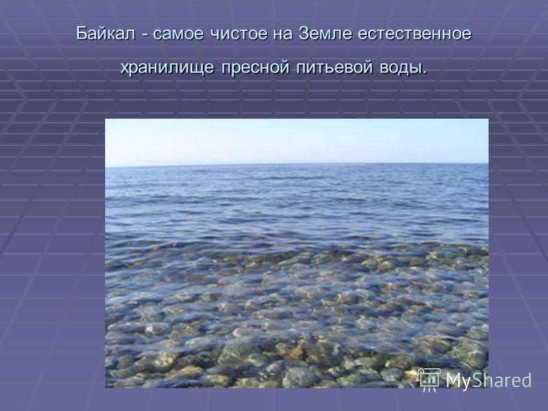Байкал - самое чистое на Земле естественное хранилище пресной питьевой воды.